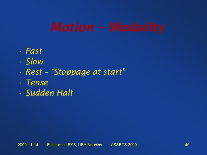 "Motion – Modality • Fast • Slow • Rest – ""Stoppage at start"" •"