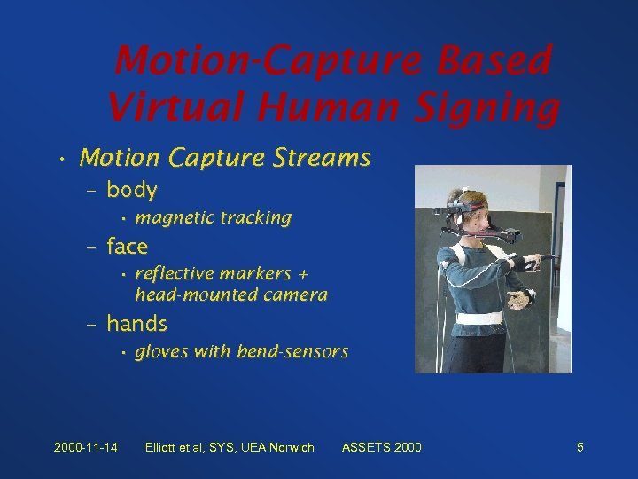 Motion-Capture Based Virtual Human Signing • Motion Capture Streams – body • magnetic tracking