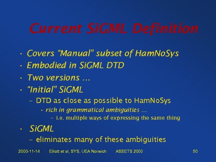 "Current Si. GML Definition • Covers ""Manual"" subset of Ham. No. Sys • Embodied"