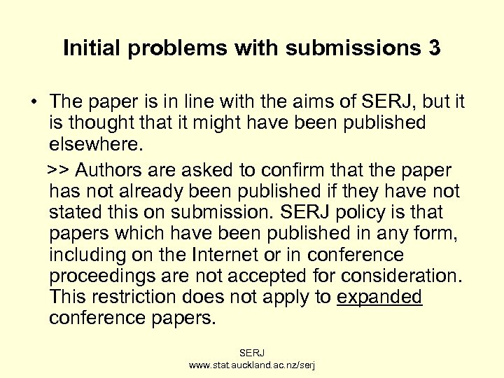 Initial problems with submissions 3 • The paper is in line with the aims