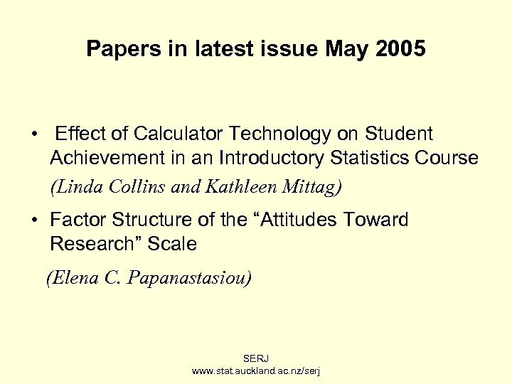 Papers in latest issue May 2005 • Effect of Calculator Technology on Student Achievement