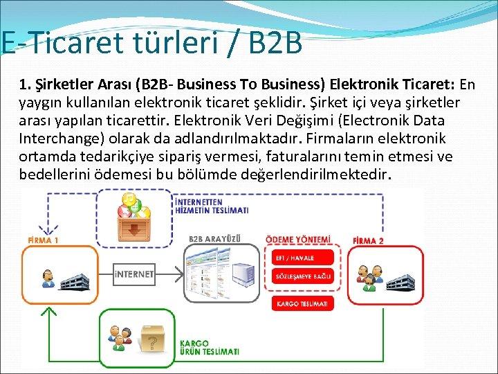 E-Ticaret türleri / B 2 B 1. Şirketler Arası (B 2 B- Business To
