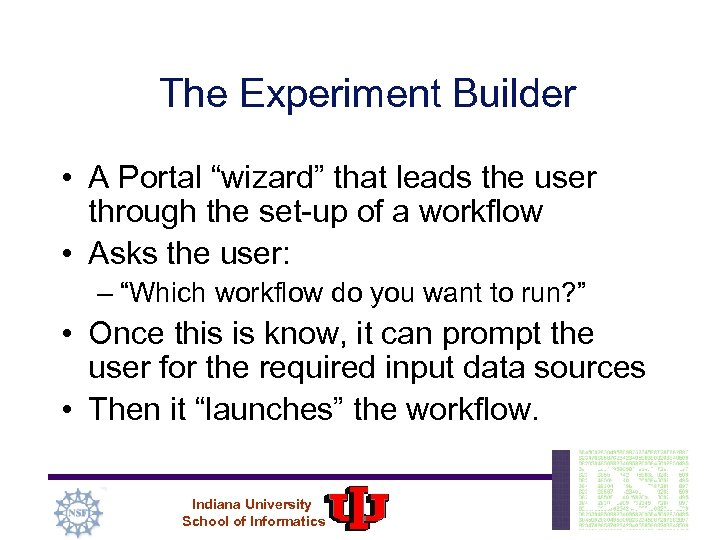 """The Experiment Builder • A Portal """"wizard"""" that leads the user through the set-up"""