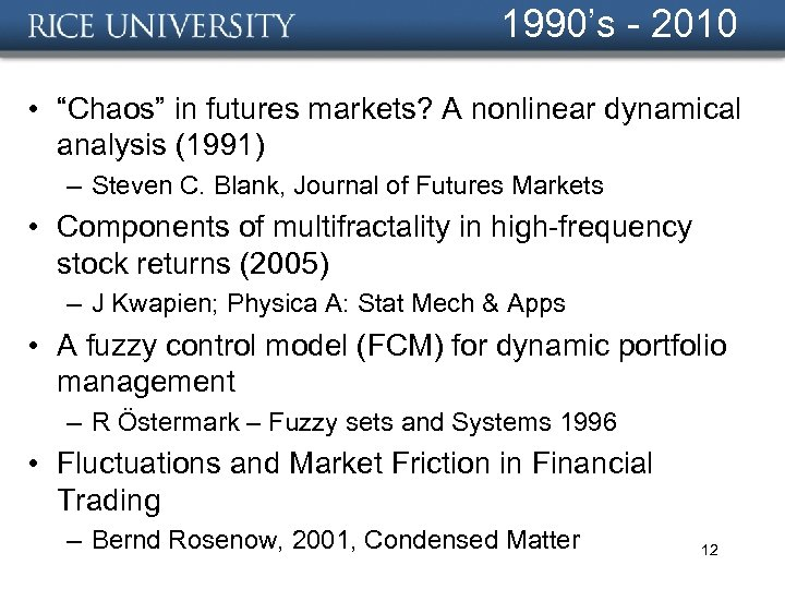 "1990's - 2010 • ""Chaos"" in futures markets? A nonlinear dynamical analysis (1991) –"