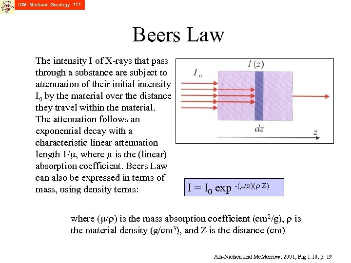 UW- Madison Geology 777 Beers Law The intensity I of X-rays that pass through