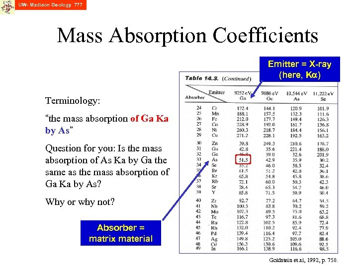 "UW- Madison Geology 777 Mass Absorption Coefficients Emitter = X-ray (here, Ka) Terminology: ""the"