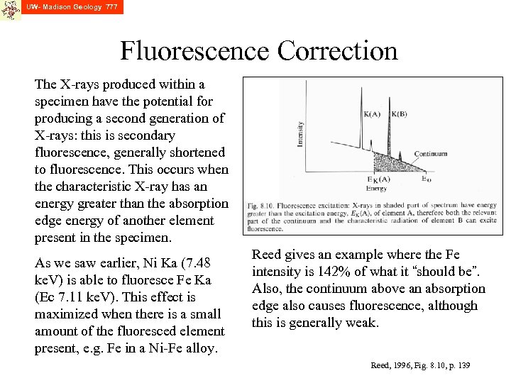 UW- Madison Geology 777 Fluorescence Correction The X-rays produced within a specimen have the