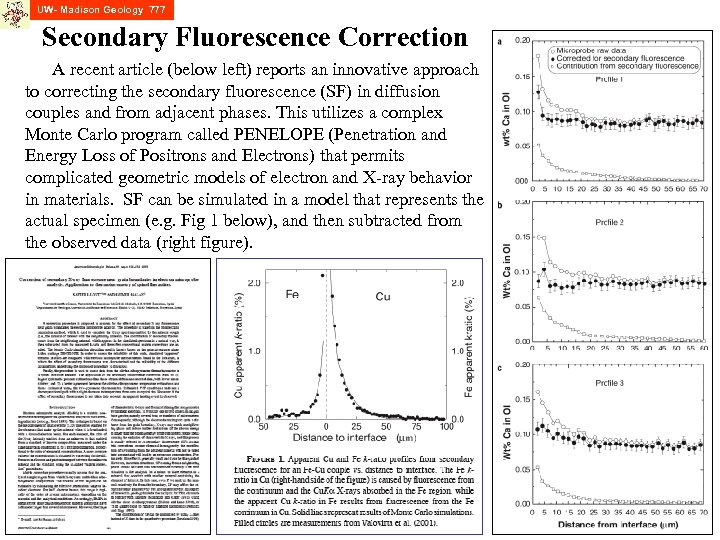 UW- Madison Geology 777 Secondary Fluorescence Correction A recent article (below left) reports an