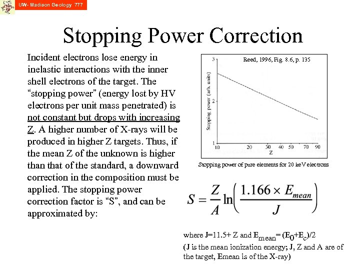 UW- Madison Geology 777 Stopping Power Correction Incident electrons lose energy in inelastic interactions