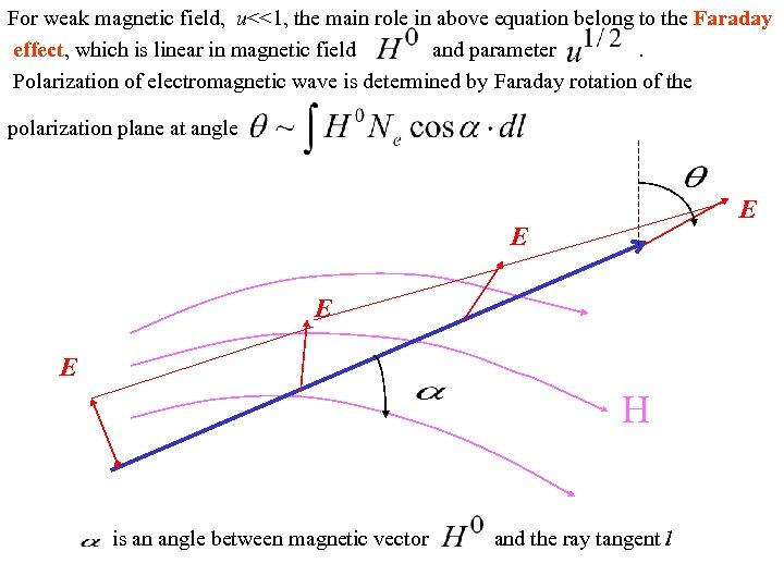 For weak magnetic field, u<<1, the main role in above equation belong to the