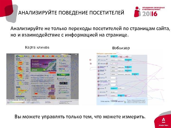 АНАЛИЗИРУЙТЕ ПОВЕДЕНИЕ ПОСЕТИТЕЛЕЙ Анализируйте не только переходы посетителей по страницам сайта, но и взаимодействие