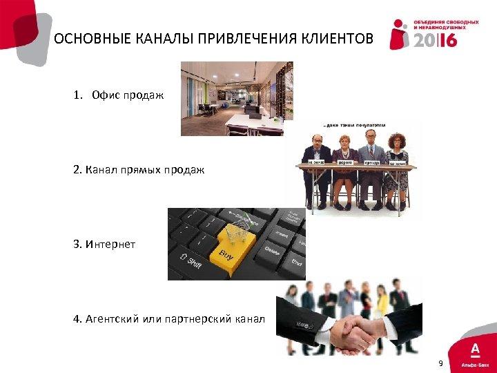 ОСНОВНЫЕ КАНАЛЫ ПРИВЛЕЧЕНИЯ КЛИЕНТОВ 1. Офис продаж 2. Канал прямых продаж 3. Интернет 4.