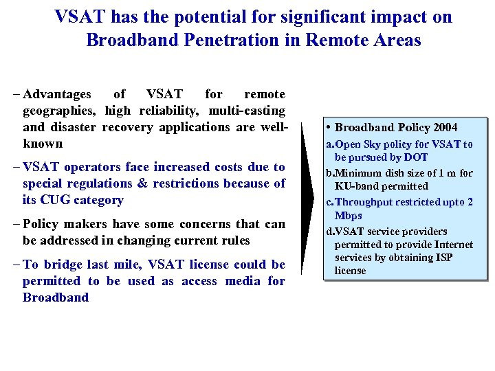 VSAT has the potential for significant impact on Broadband Penetration in Remote Areas –