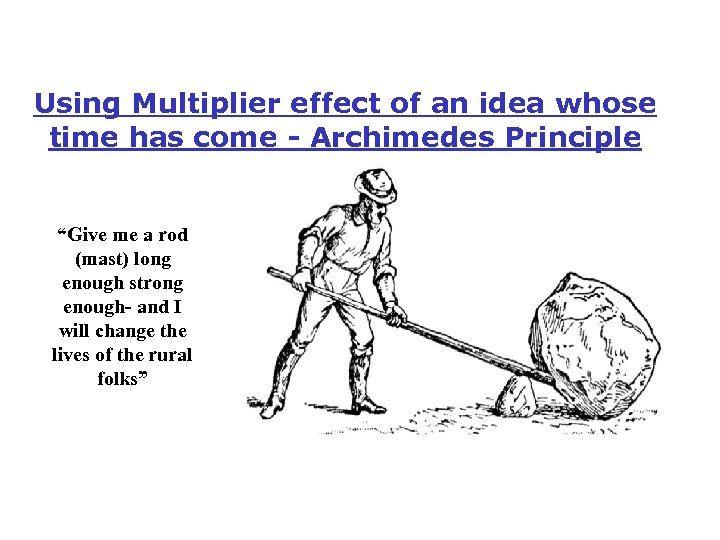 "Using Multiplier effect of an idea whose time has come - Archimedes Principle ""Give"