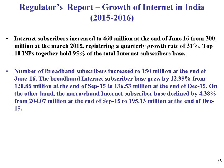 Regulator's Report – Growth of Internet in India (2015 -2016) • Internet subscribers increased