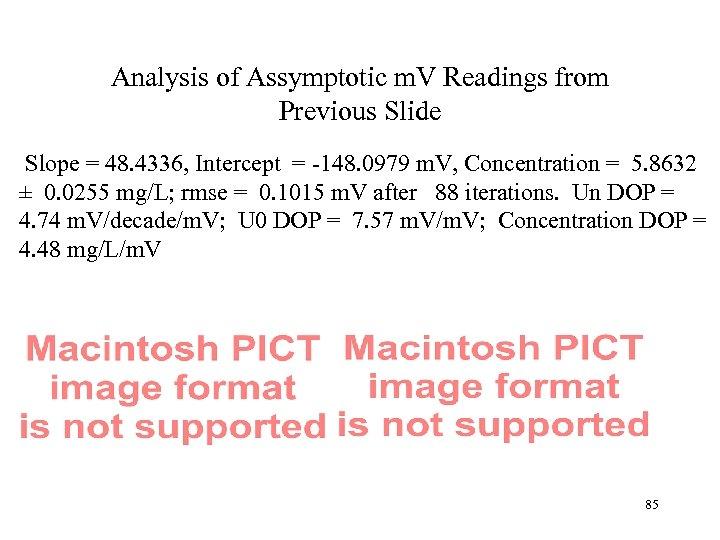 Analysis of Assymptotic m. V Readings from Previous Slide Slope = 48. 4336, Intercept