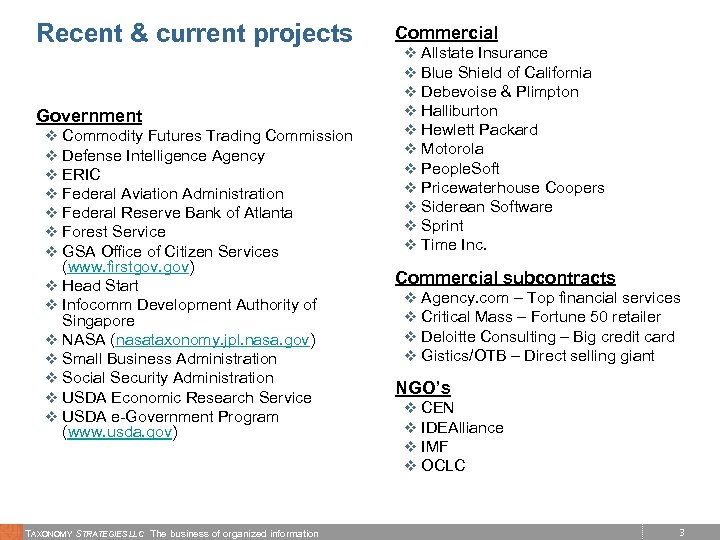 Recent & current projects Government v Commodity Futures Trading Commission v Defense Intelligence Agency