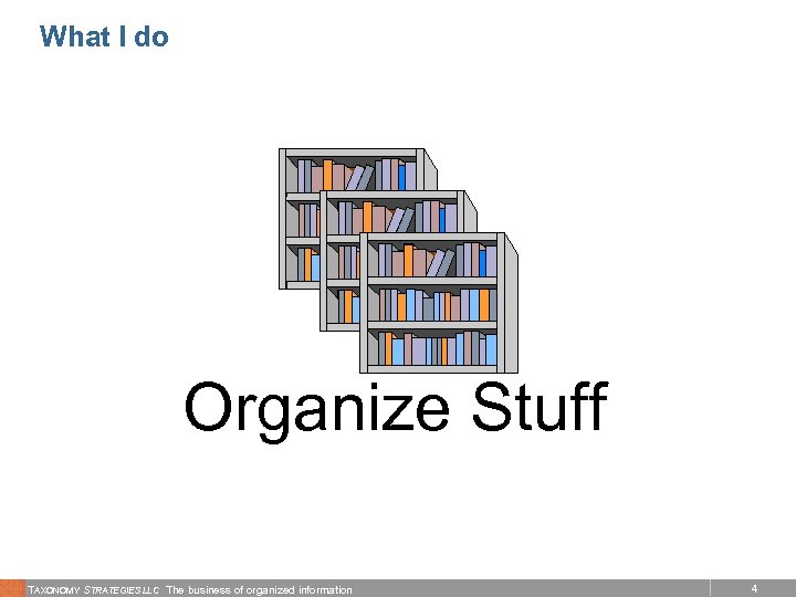 What I do Organize Stuff TAXONOMY STRATEGIES LLC The business of organized information 4