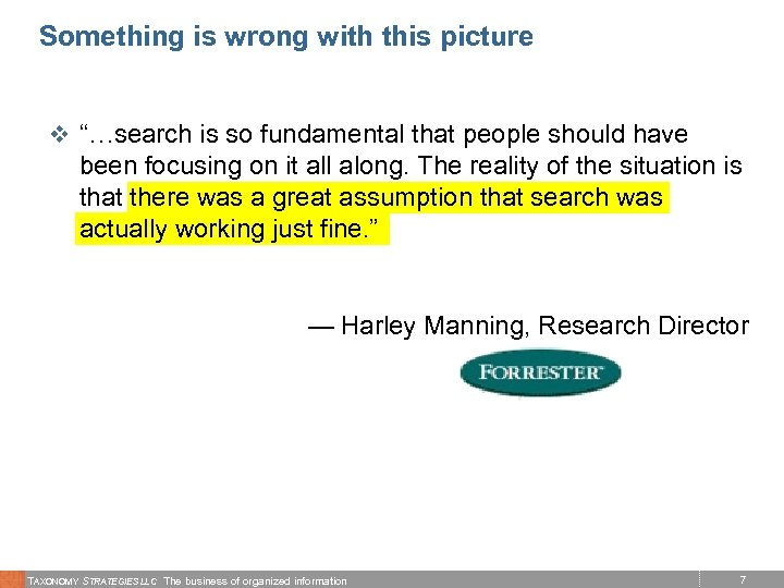 """Something is wrong with this picture v """"…search is so fundamental that people should"""