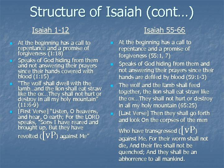 Structure of Isaiah (cont…) Isaiah 1 -12 n n At the beginning has a