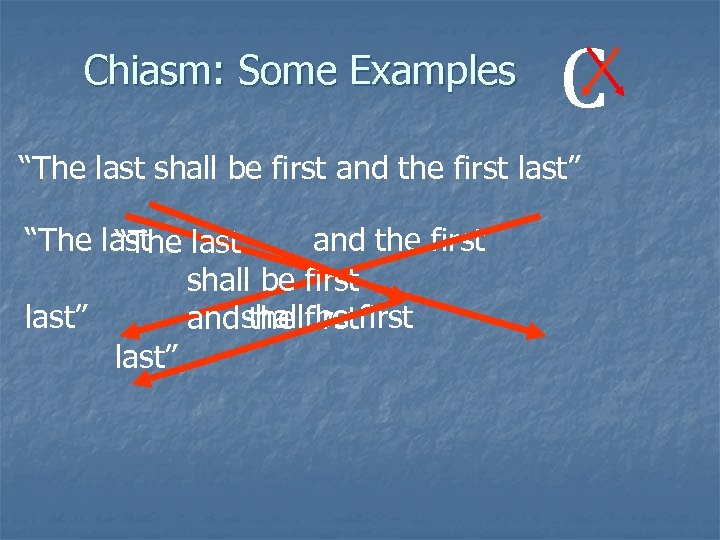 "Chiasm: Some Examples C ""The last shall be first and the first last"" ""The"