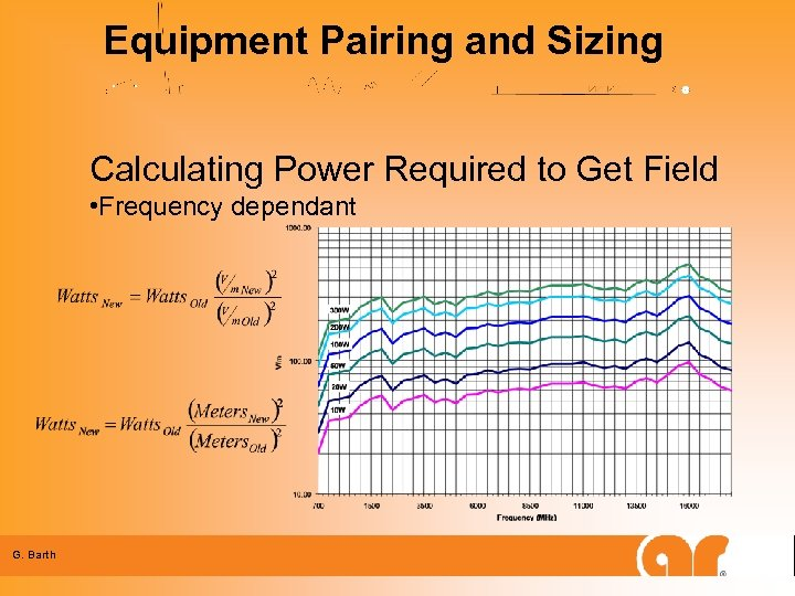 Equipment Pairing and Sizing Calculating Power Required to Get Field • Frequency dependant G.