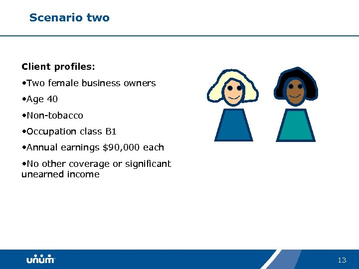 Scenario two Client profiles: • Two female business owners • Age 40 • Non-tobacco