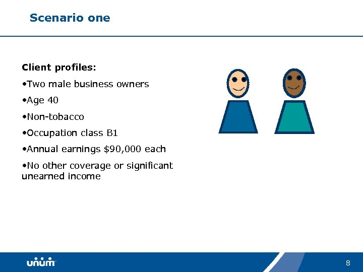 Scenario one Client profiles: • Two male business owners • Age 40 • Non-tobacco