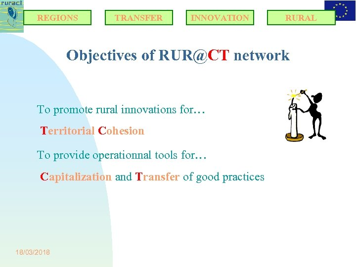 REGIONS TRANSFER INNOVATION RURAL Objectives of RUR@CT network To promote rural innovations for… Territorial