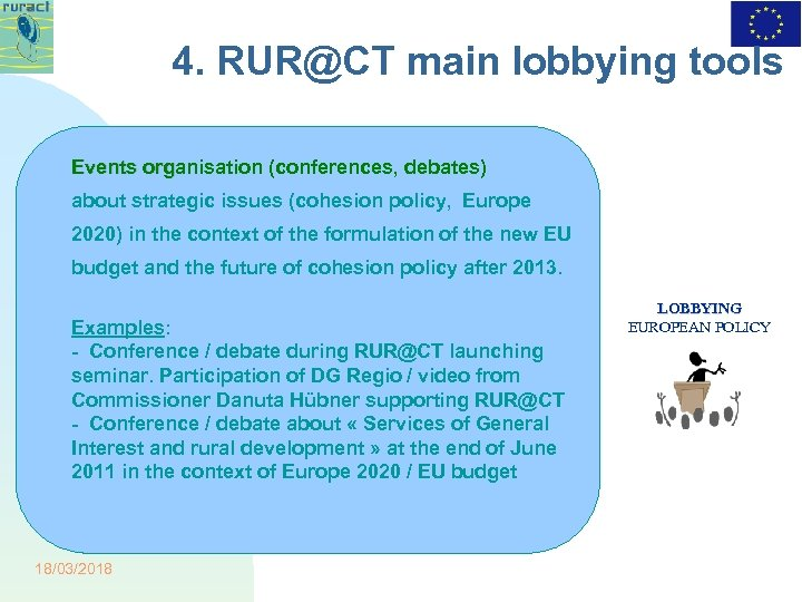 4. RUR@CT main lobbying tools Events organisation (conferences, debates) about strategic issues (cohesion