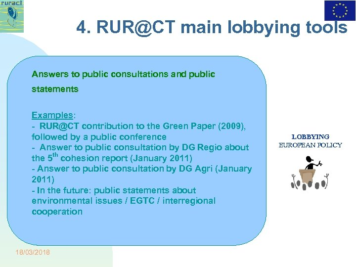 4. RUR@CT main lobbying tools Answers to public consultations and public statements Examples: