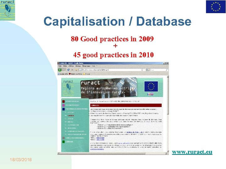 Capitalisation / Database 80 Good practices in 2009 + 45 good practices in 2010