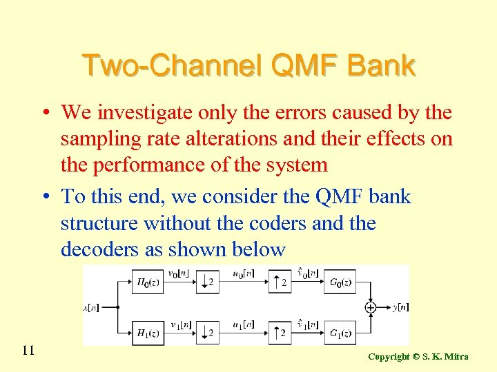 Two-Channel QMF Bank • We investigate only the errors caused by the sampling rate