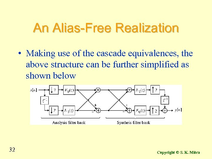 An Alias-Free Realization • Making use of the cascade equivalences, the above structure can