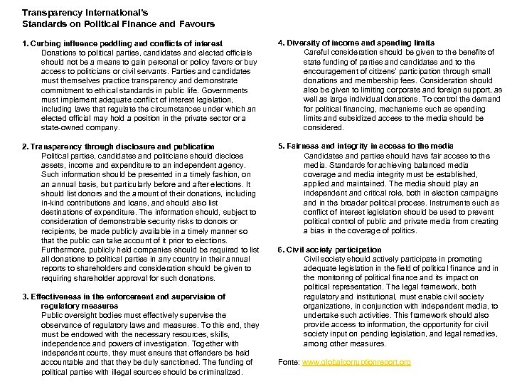 Transparency International's Standards on Political Finance and Favours 1. Curbing influence peddling and conflicts