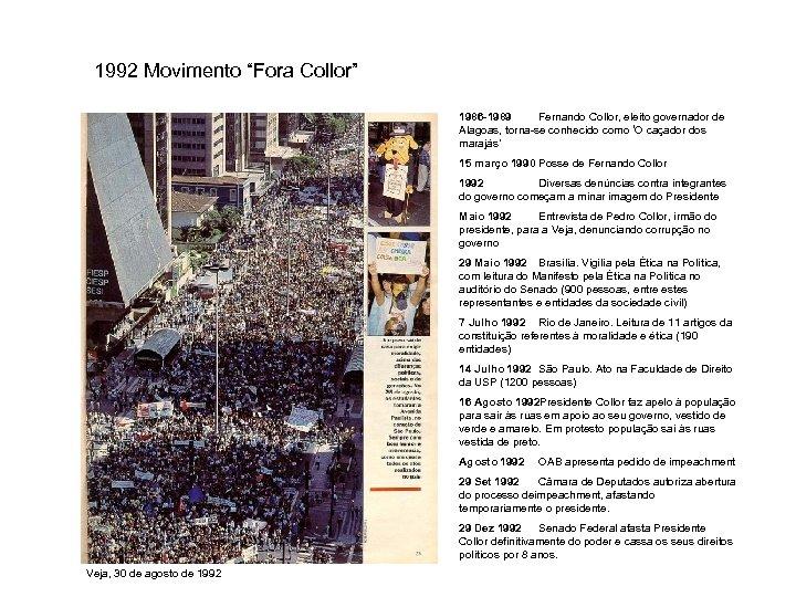"""1992 Movimento """"Fora Collor"""" 1986 -1989 Fernando Collor, eleito governador de Alagoas, torna-se conhecido"""