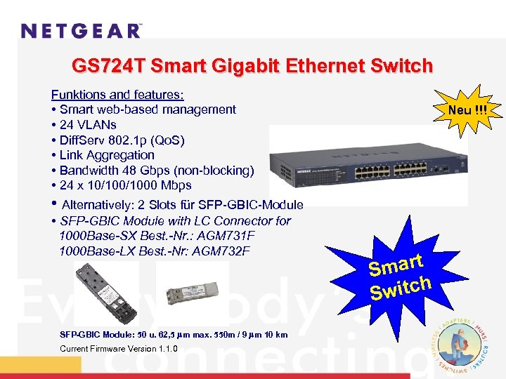 GS 724 T Smart Gigabit Ethernet Switch Funktions and features: • Smart web-based management