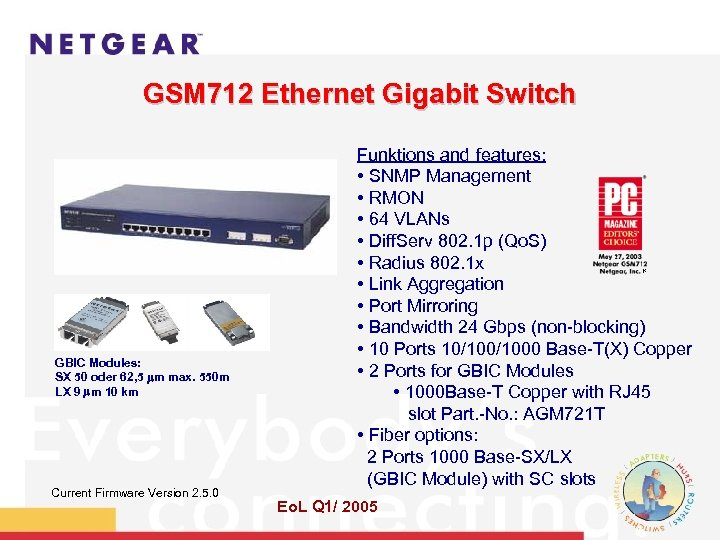 GSM 712 Ethernet Gigabit Switch Funktions and features: • SNMP Management • RMON •