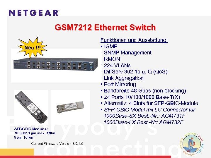 GSM 7212 Ethernet Switch Neu !!! SFP-GBIC Modules: 50 u. 62, 5 m max.