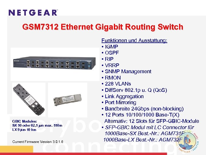 GSM 7312 Ethernet Gigabit Routing Switch GBIC Modules: SX 50 oder 62, 5 m