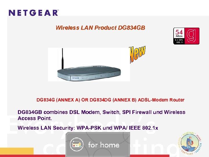 Wireless LAN Product DG 834 GB DG 834 G (ANNEX A) OR DG 834