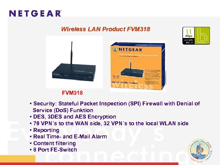 Wireless LAN Product FVM 318 • Security: Stateful Packet Inspection (SPI) Firewall with Denial