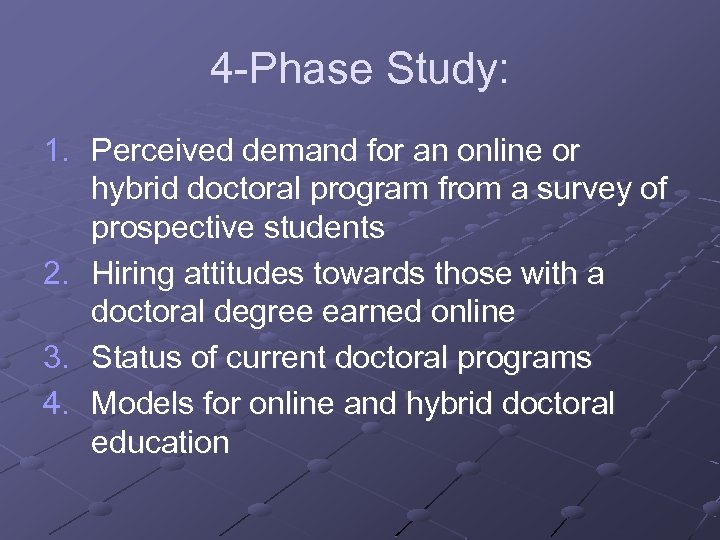 4 -Phase Study: 1. Perceived demand for an online or hybrid doctoral program from