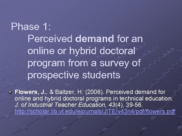 Phase 1: Perceived demand for an online or hybrid doctoral program from a survey