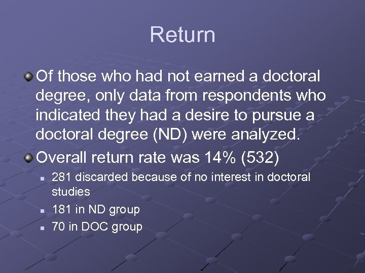 Return Of those who had not earned a doctoral degree, only data from respondents