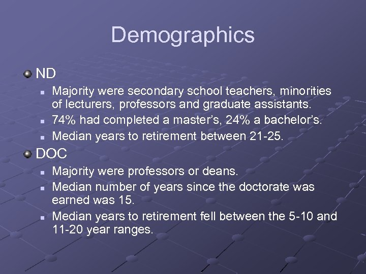 Demographics ND n n n Majority were secondary school teachers, minorities of lecturers, professors