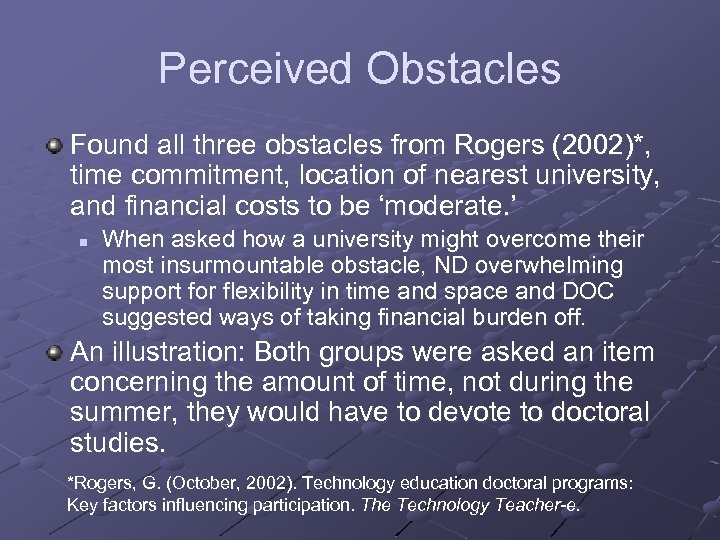 Perceived Obstacles Found all three obstacles from Rogers (2002)*, time commitment, location of nearest