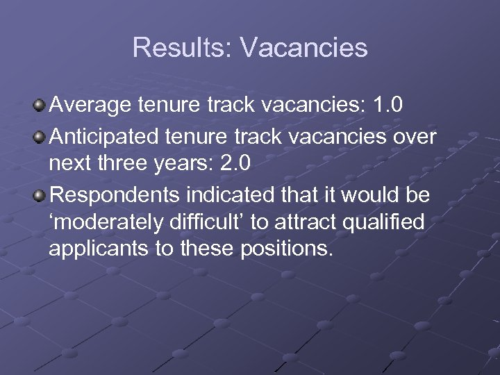 Results: Vacancies Average tenure track vacancies: 1. 0 Anticipated tenure track vacancies over next