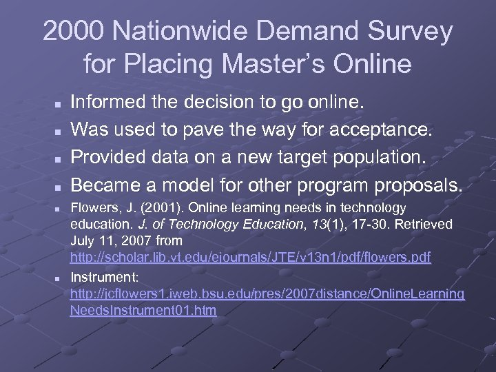 2000 Nationwide Demand Survey for Placing Master's Online n n n Informed the decision