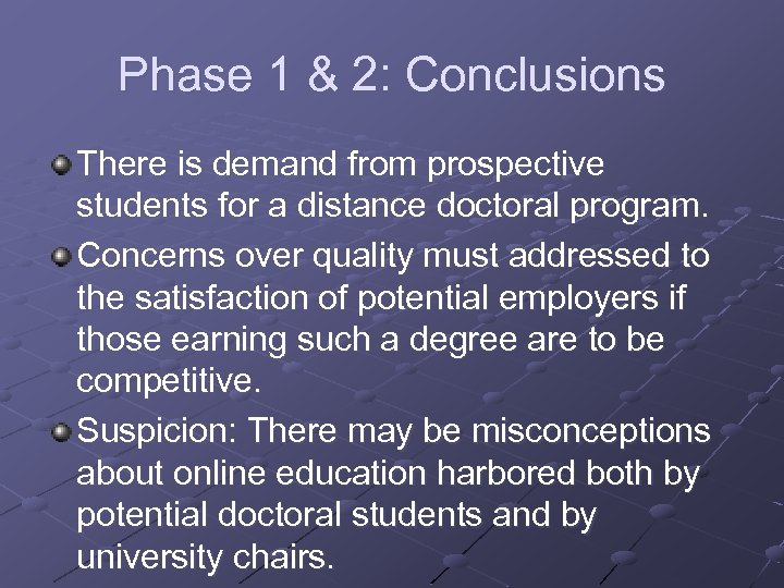 Phase 1 & 2: Conclusions There is demand from prospective students for a distance
